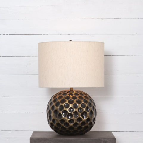 Honey ivory brass round table lamp