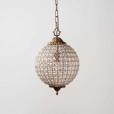 Hutch round crystal brass chandelier light small