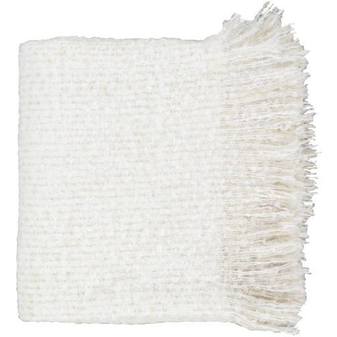 ivory beige tasseled throw