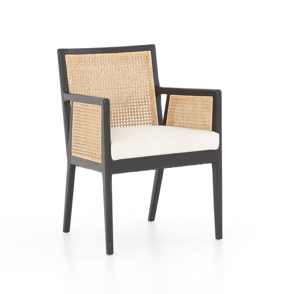 Juliet brown nettle wood ivory cane dining chair