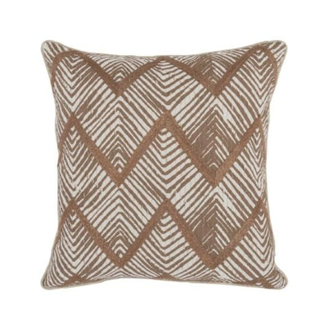 brown white cotton jute pillow