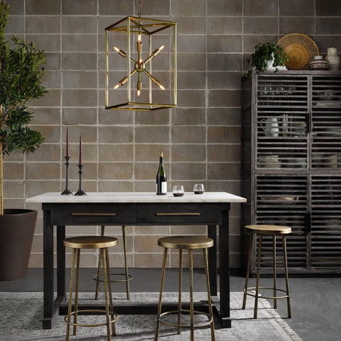 Kaitlyn Kitchen Island made of black wood and white marble with brass accents
