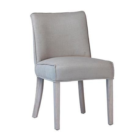 Keller white wash wood grey upholstery dining chair