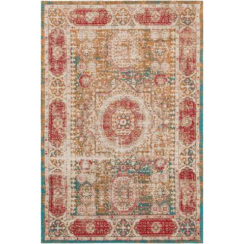Knight red blue traditional faded acrylic rug