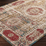 Knight red blue acrylic traditional faded rug