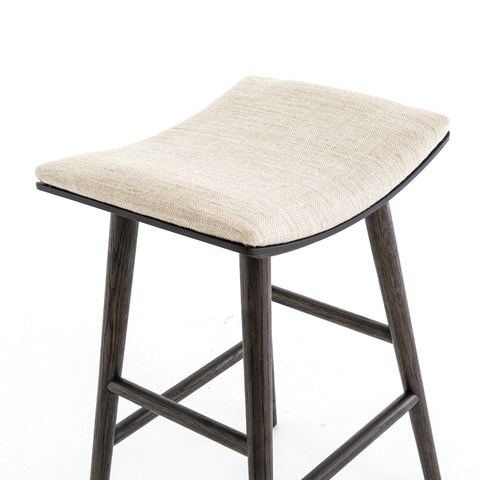 Knoxville ivory upholstery oak bar stool