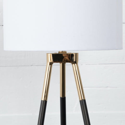 Dayne pyramid table lamp brass gunmetal white shade