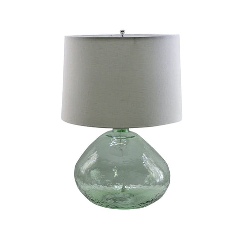 Jade Table Lamp green glass base ivory linen shade