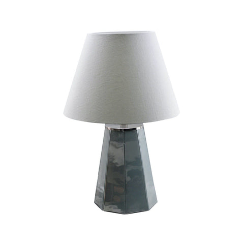 Scout Table Lamp grey glass base ivory linen shade