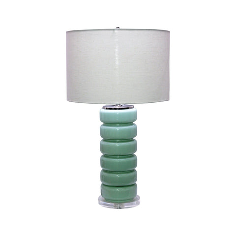 Zola Table Lamp turquoise glass base ivory linen shade