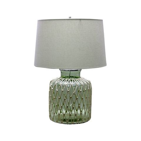 Rufus table Lamp emerald glass base ivory lace accent gold rope