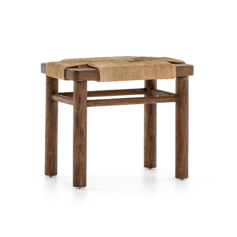 Langston tan rope mahogany wood accent stool
