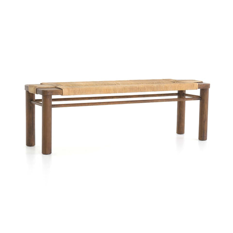 Langston tan rope mahogany wood bench