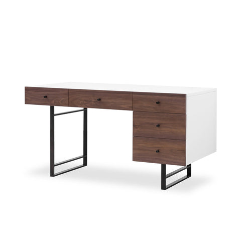 Langer Desk brown Walnut front White Lacquer side black iron base mid-century front view