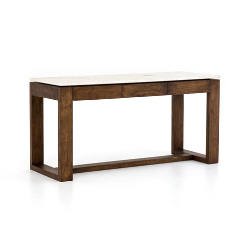 Lewis bar counter table white marble acacia wood