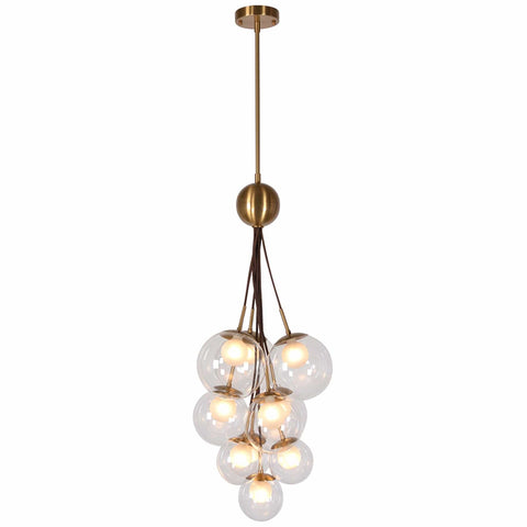 Sebastian Chandelier hanging nickel brass bulbs