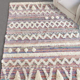 mackenzie wool multi-color ivory fringe rug