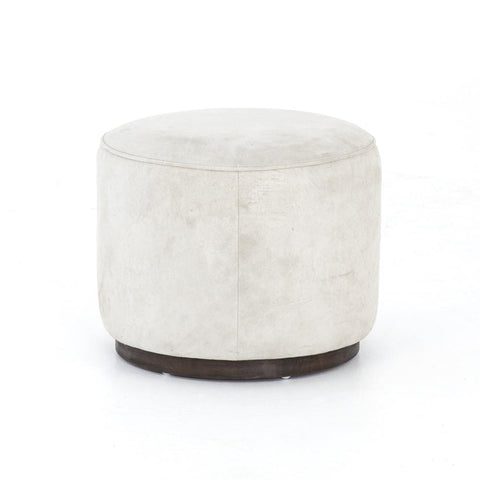 Memphis Ottoman circular white suede seat brown parawood brown base front view