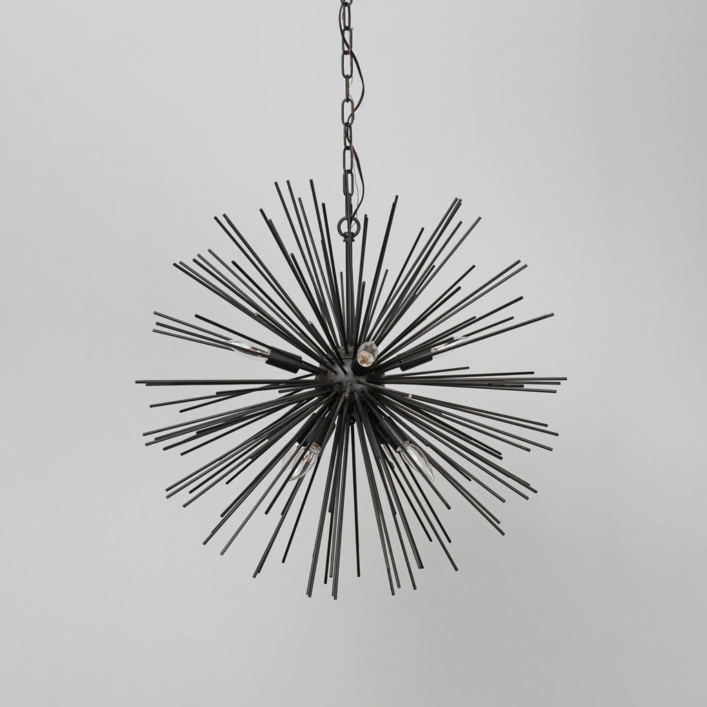 Mercury black iron burst chandelier