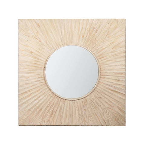 Ambrose Mirror sunray pattern pine wood natural