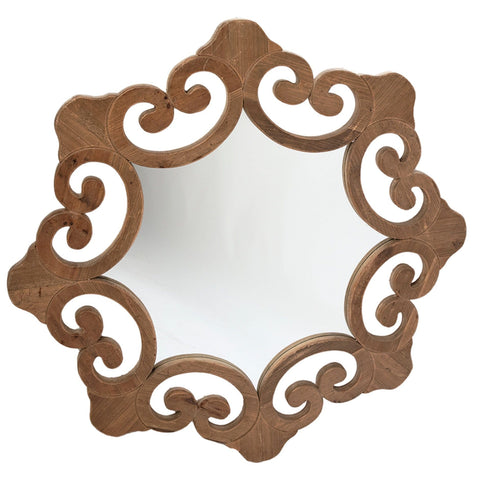 Rocco Mirror natural brown wood frame trendy wall art