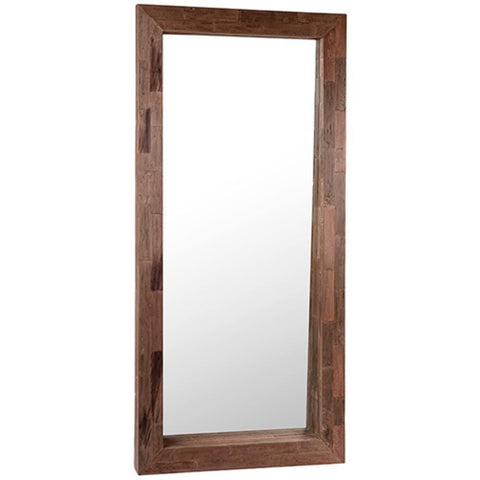 Teak Floor Mirror brown reclaimed exotic wood
