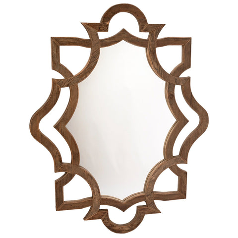 Ryan Mirror natural brown wood frame trendy wall art