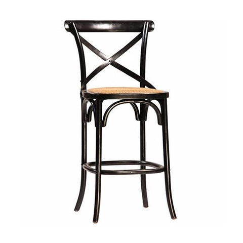 newell black wood rattan counter stool