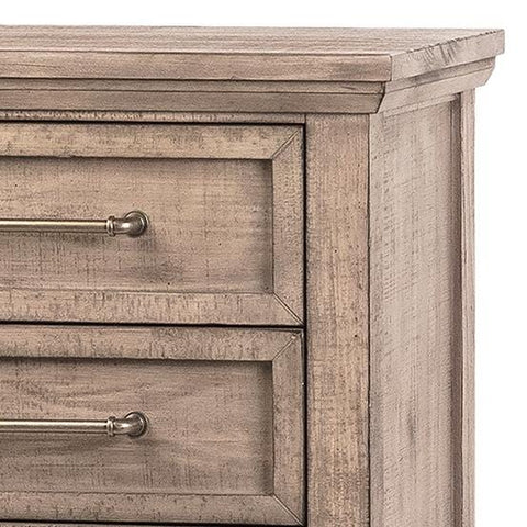 Paulsen Nightstand rustic light brown finish solid pine wood frame