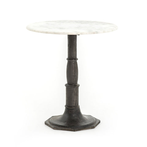 Noble white marble black iron end table