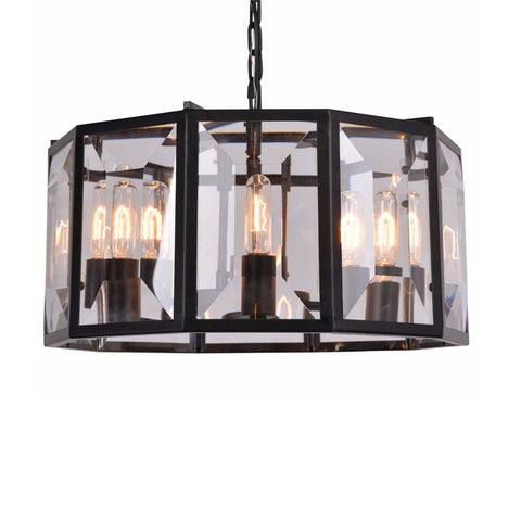 Octavia black iron glass chandelier small