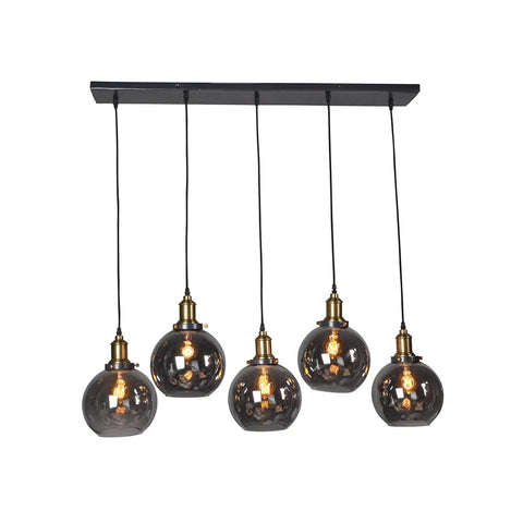 Odessa black iron glass chandelier