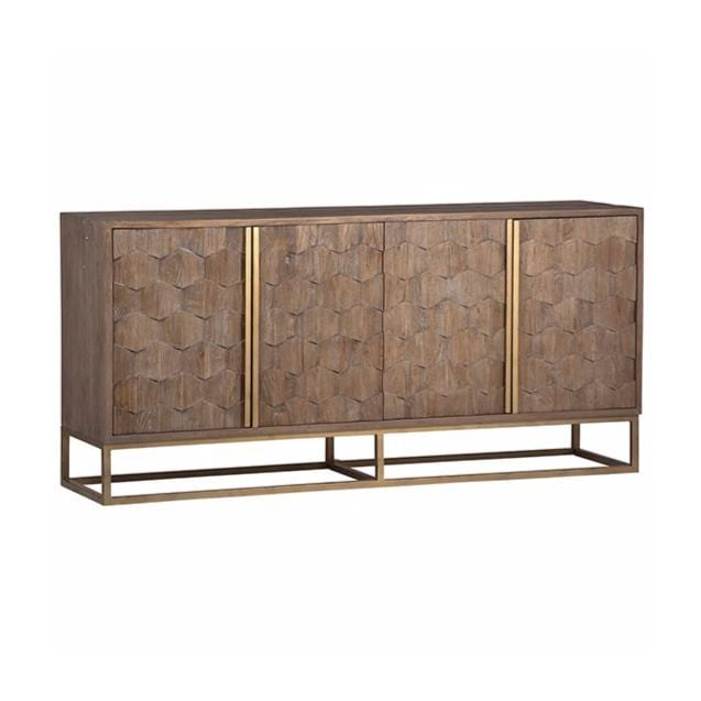 omega elm wood inlay brass sideboard