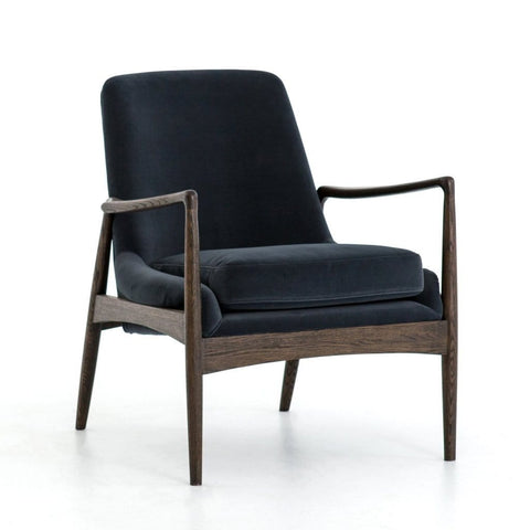 Ontario smoke grey velvet mid-century chair