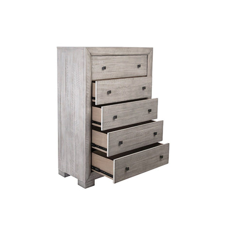 Rosey Chest white washed grey reclaimed wood iron accents modern style