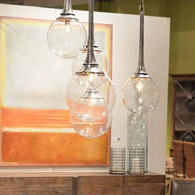 Pomona silver glass pendant light