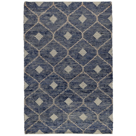 Parrish blue tan wool jute rug