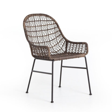 Perry outdoor brown wicker dining chair