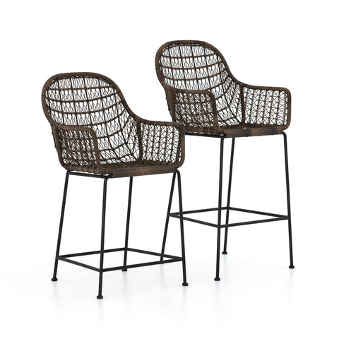 Perry brown wicker black metal outdoor stool