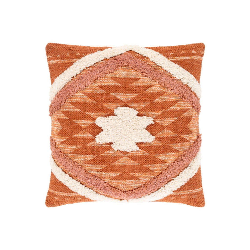 Azi Pillow cotton down insert orange aztec pattern