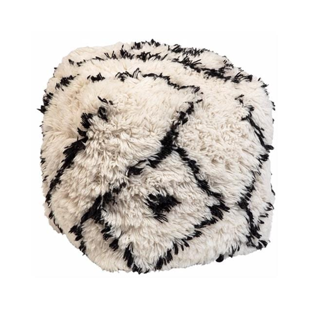 plush white black wool pouf