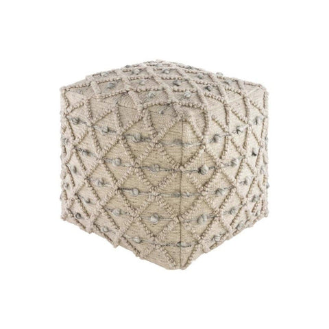 Anna Pouf made of cotton in beige and grey in diamond or polka dot pattern