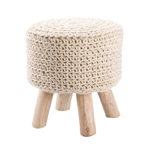 Bishop Pouf made of Wool and Wood in white