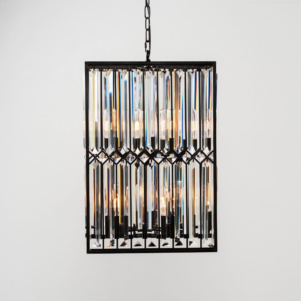 Powell black iron crystal chandelier