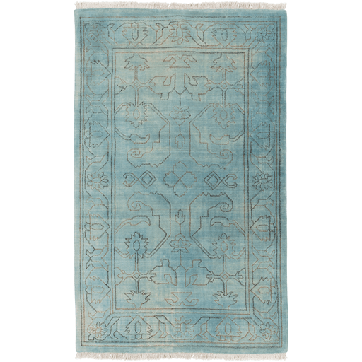 Quinta blue green fringe wool rug