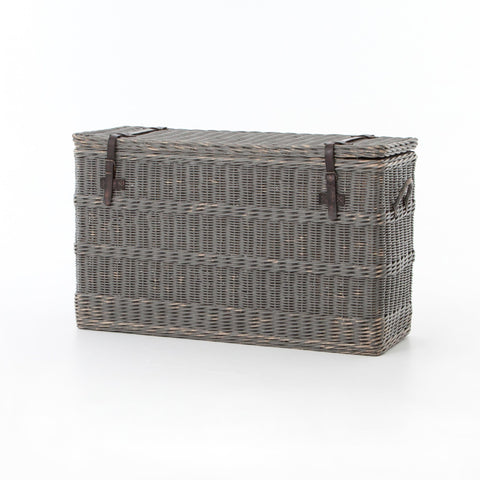 Grey Rattan leather strap storage trunk