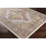 Reaves pink yellow traditional faded Turkish rug