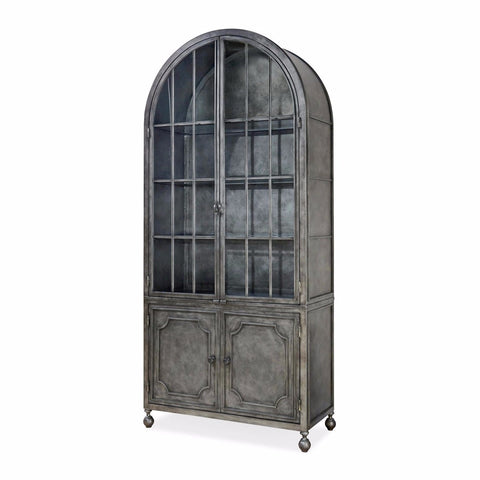 Reese antiqued iron glass display cabinet