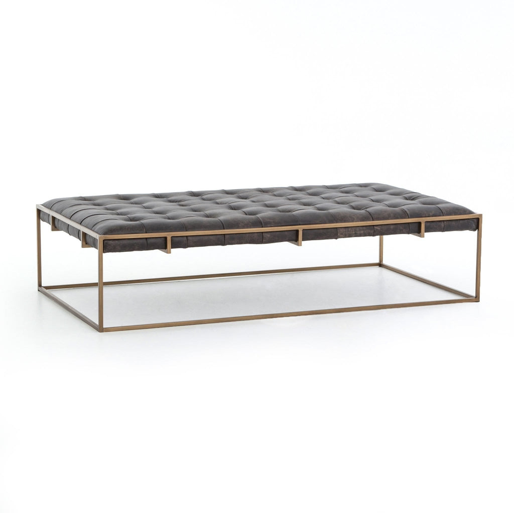 Royce black leather brass iron modern coffee table ottoman