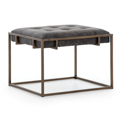 Royce black leather brass iron end table modern